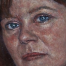 Vrouw portret olieverf oilpaint oil on stone