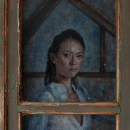 This painting is painted behind an old Spanish window. Oil on panel
